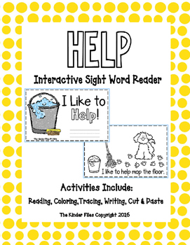 "Interactive Sight Word Reader-""I Like to HELP!"""