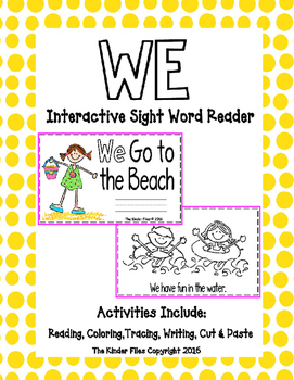 """Interactive Sight Word Reader- """"WE Go to the Beach"""""""