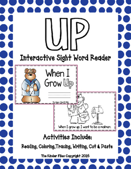 """Interactive Sight Word Reader- """"When I Grow UP"""""""