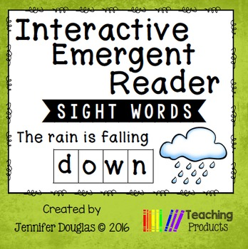 Interactive Emergent Sight Word Reader - the rain is falling DOWN
