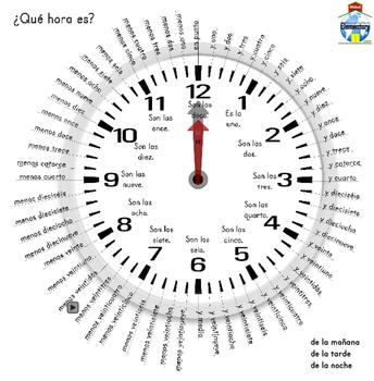 Interactive Spanish Speaking Analogue Clock & Printable Ma