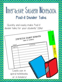 Interactive Student Notebook Post-It Divider Tabs