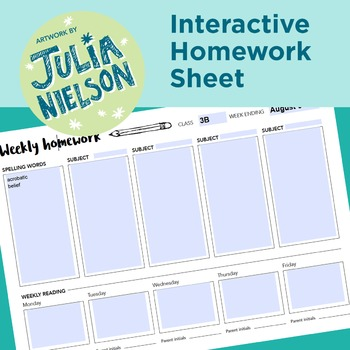 Interactive PDF Weekly Homework Sheet
