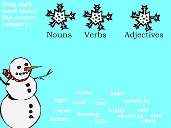 Interactive White Board Winter Themed - Language Arts Review