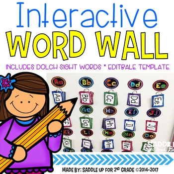 Interactive Word Wall with Dolch Sight Words: Bright Colors