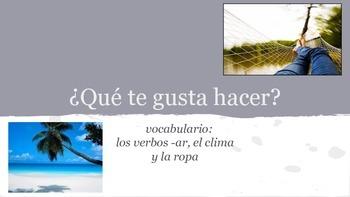 Spanish 1 presentation and practice for -AR verbs, ir, jug