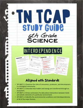 Interdependence Study Guide for 6th Grade TN TCAP