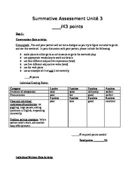 Intermediate-Advanced Summative Assessment - making plans