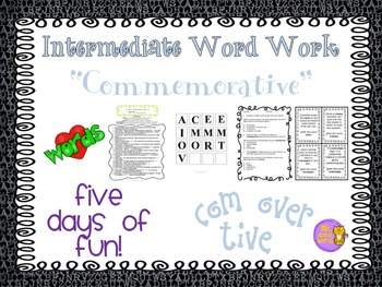 "Word Work and Vocabulary 5-Day Intermediate Unit ""COMMEMORATIVE"""