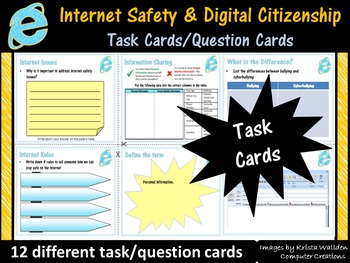 Internet Safety and Digital Citizenship Task Cards/Questio