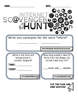 Basic Internet Skills Scavenger Hunt (Webquest FREEBIE)