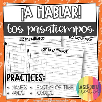 ¡A Hablar! Interpersonal Speaking Activity – Pastimes Info