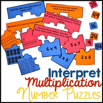 Interpret Multiplication Number Puzzles - Products of Whol