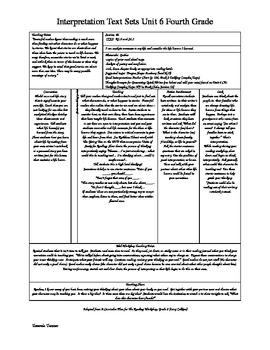 Interpretation Text Sets Lesson Plans (Unit 6 Lucy Calkins