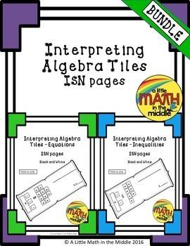 Interpreting Algebra Tiles ISN Pages Bundle TEKS 6.10A