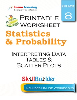 Interpreting Data Tables & Scatter Plots Printable Workshe