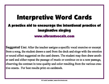 Interpretive Word Cards for Singers