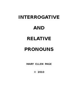 Interrogative and Relative Pronouns