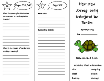 Interrupted Journey Trifold - Storytown 5th Grade Unit 5 Week 1