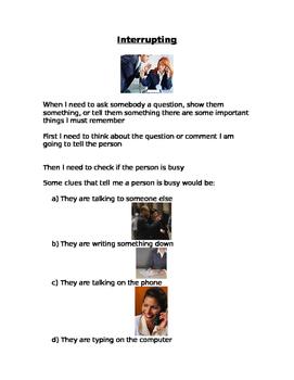 Interrupting- Social story
