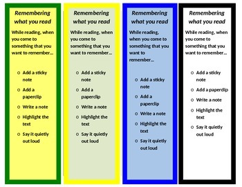 Intervention Bookmark: Remembering What You Read (editable)