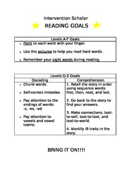 Intervention Scholar Reading Goals