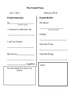 Interview a friend/parent/sibling/grandparent Bundle *editable*