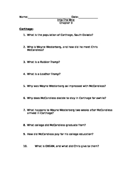 Into The Wild homework questions, chapter 3