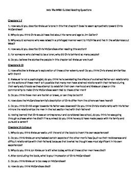 Into the Wild Guided Reading and Essay Topics