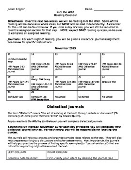 Into the Wild Reading Journal and Essay Assignment