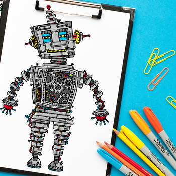 Intricate robot coloring page - digital download