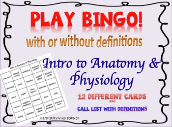 Intro to Anatomy & Physiology BINGO! with and without definitions