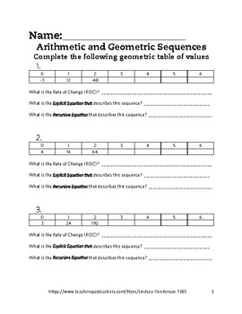 Intro to Arithmetic and Geometric Sequences Lesson 5 of 6
