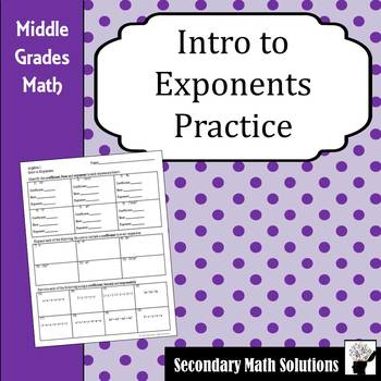 Intro to Exponents Practice