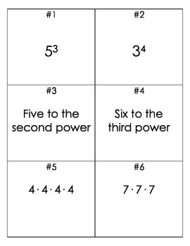 Intro to Exponents Task Cards