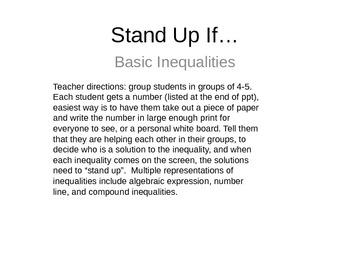Intro to Inequalities Activity