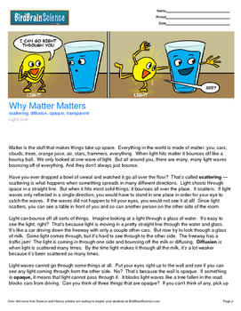 Intro to Light, Why Matter Matters - Engaging Science Reading