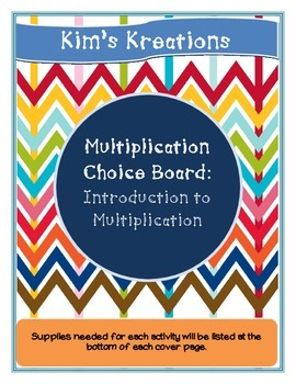 Introduction to Multiplication Choice Board (activities no