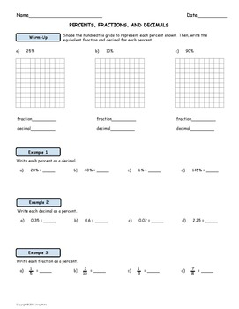 Intro to Percents; Worksheet and Homework