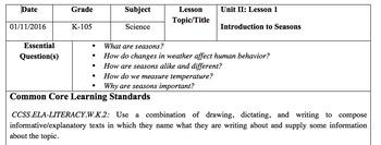 Intro to Seasons Lesson Bundle
