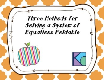 Intro to Solving System of Equations Foldable