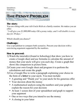 Intro to Spreadsheets: The Penny Problem
