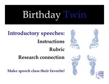 Introduction Speech:  Birthday Twin Assignment