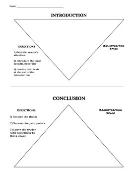 Introduction and Conclusion Graphic Organizers
