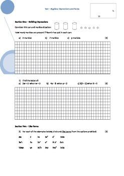 Introduction to Algebra Test