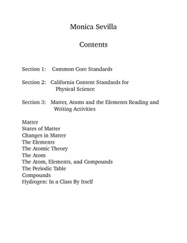 Introduction to Chemistry Common Core Reading and Writing