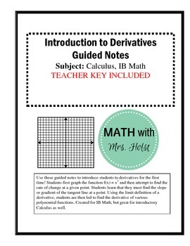 Introduction to Derivatives Guided Notes