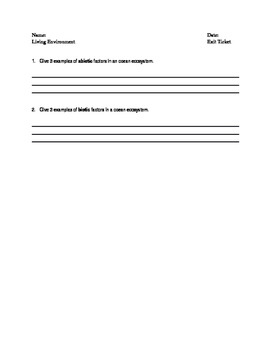 Introduction to Ecosystems Exit Ticket