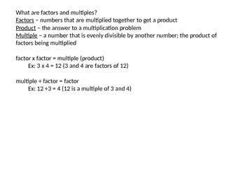 Introduction to Factors, Factor Pairs, and Multiples