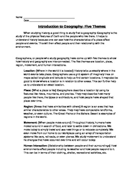 Geography: The Five Themes